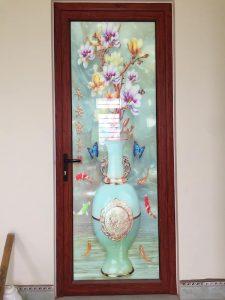 Mẫu cửa nhôm kính Xingfa đẹp màu vân gỗ